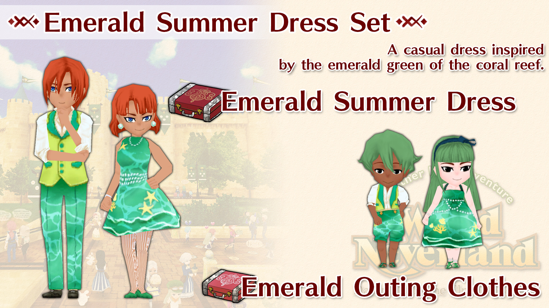 Emerald Summer Dress Set WorldNeverland - Elnea Kingdom
